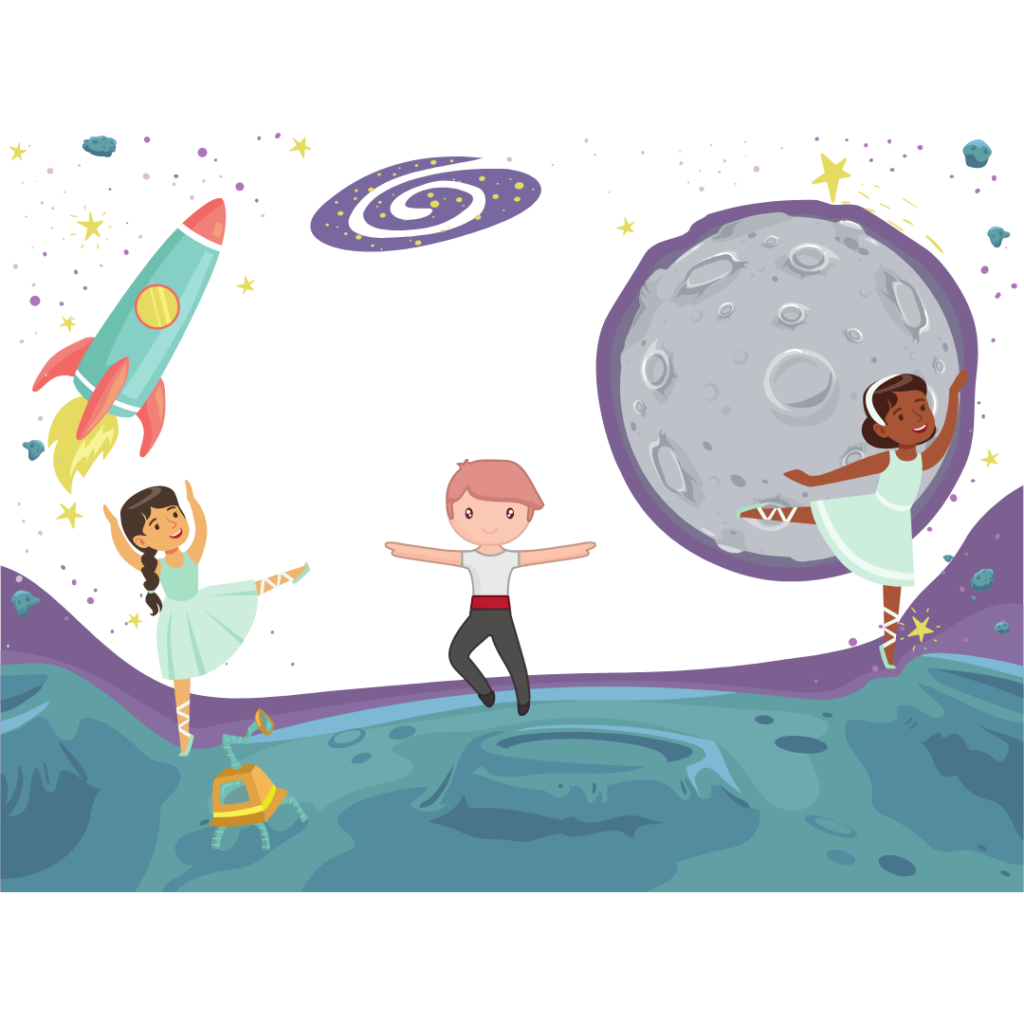 cartoon illustration of young dancers in ballet poses with an outer space backdrop.